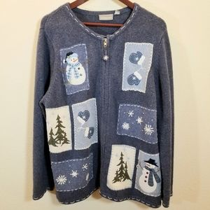 Silk Winter Cardigan Snowman Sweater in Blue